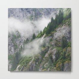 Breathtaking Alaska Rugged Mountain Valley Shrouded in Mist Metal Print