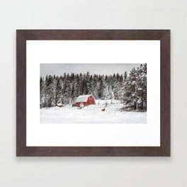 Crazy Horse and the Red Barn Framed Art Print