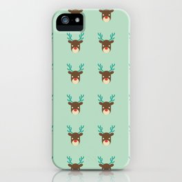 Cute deer pattern Christmas decorations retro colors light green background iPhone Case