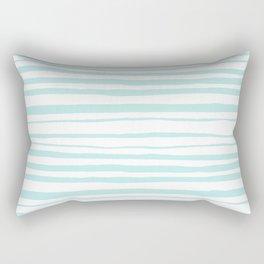 Handmade aqua turquoise Stripes on white - Maritime pattern Rectangular Pillow