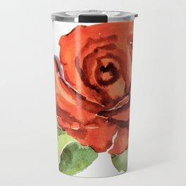 Red Rose In Bloom, Watercolour Sketch Travel Mug