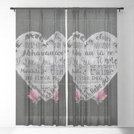 I Love You Chalk Heart Sheer Curtain