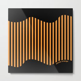 Etoide Jingga Orange Black Stripes Metal Print