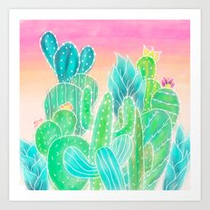 Modern tropical exotic summer cactus illustration pink ombre watercolor Art Print
