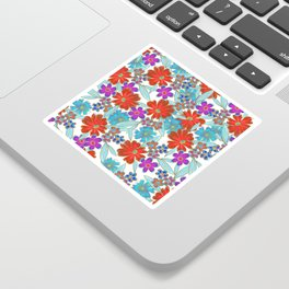 Whimsical Watercolor Teal Purple Red Gold Floral Sticker