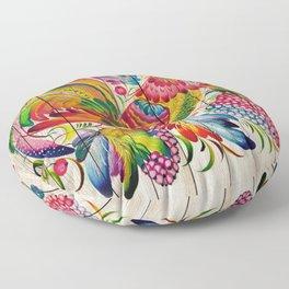 Russian Folk Art on Wood 01 Floor Pillow