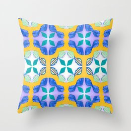 Bow Tie Tile in purple Throw Pillow