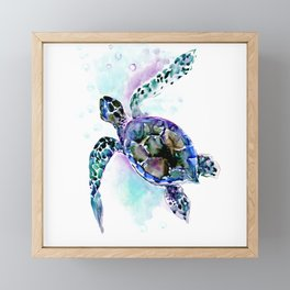 Sea Turtle Underwater Scene Artwork, turquoise blue, gray design beach Framed Mini Art Print