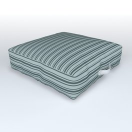 Night Watch PPG1145-7 Horizontal Stripes Pattern 2 on Blue Willow Green PPG1145-4 Outdoor Floor Cushion