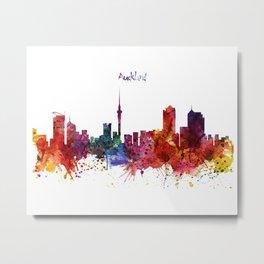 Auckland Watercolor Skyline Metal Print