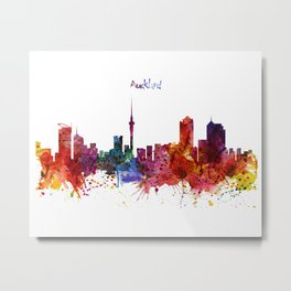Auckland Watercolor Skyline Metal Print