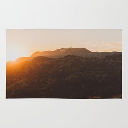 Hollywood Sign from Griffith in the sunset Rug