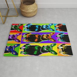 Poster with portrait of a miniature pinscher dog in pop art style Rug