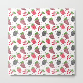 Modern blackberry fruit red raspberry berries pattern Metal Print