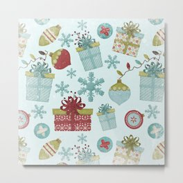 Merry Christmas-Festive gift and Christmas Bowls X-Mas Pattern Metal Print