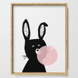 Bubble Gum Bunny Poster, kids bunny art, modern childrens art, rabbit, bunny portrait Serving Tray