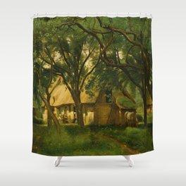 The Toutain Farm at Honfleur - Camille Corot Shower Curtain