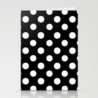 polka dots Stationery Cards featuring Polka Dots (White/Black) by 10813 Apparel