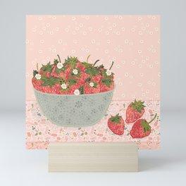 Sweet & Juicy Bowl of Strawberries Mini Art Print