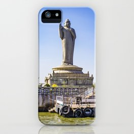 Sailing by the Giant Buddha Statue with Bright Pink Bougainvillea Plants in the Middle of Hussain Sagar Lake in Hyderabad, India iPhone Case