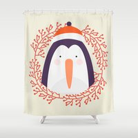 penguin Shower Curtains featuring penguin by Taranta Babu