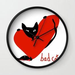 Bad Cat Love Wall Clock