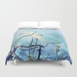 Rookery White Egret Duvet Cover