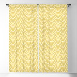 Japanese Waves Pattern Yellow Blackout Curtain