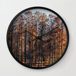Autumn Red Trees Forest In Fall Season, Autumn Season, Fall Season, Forest Trees, Autumn Colors Wall Clock