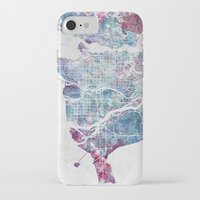 vancouver iPhone & iPod Cases featuring Vancouver map by MapMapMaps.Watercolors
