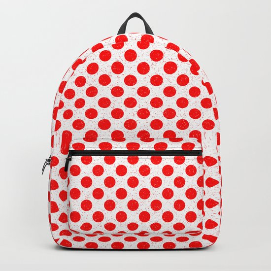 Polka Dot Red and White Pattern Backpack