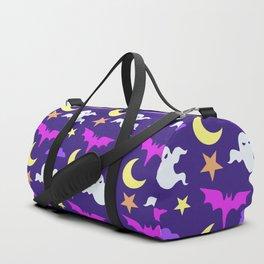 Happy halloween ghosts,bats,moon and stars pattern Duffle Bag