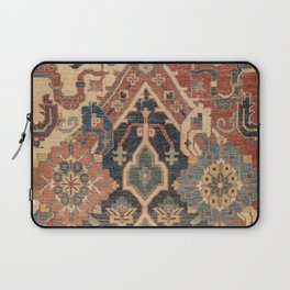 Geometric Leaves I // 18th Century Distressed Red Blue Green Colorful Ornate Accent Rug Pattern Laptop Sleeve