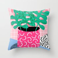 Throw Pillows featuring Shredding - indoor house plant pop art grid pattern minimal abstract neon 1980s style memphis retro by Wacka