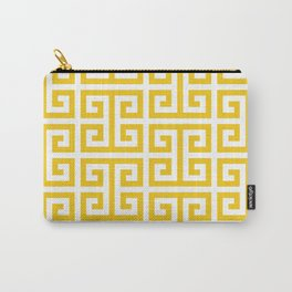 Large Gold and White Greek Key Pattern Carry-All Pouch