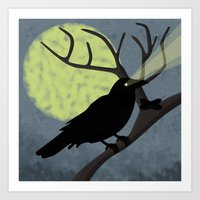 crow Art Prints featuring Crow by Nir P
