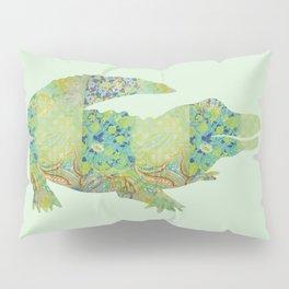 Alligator Crocodile Vintage Floral Pattern Green Teal Mint Blue Pillow Sham