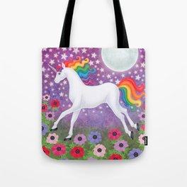 wanderlust (rainbow unicorn), moon and stars, anemone Tote Bag