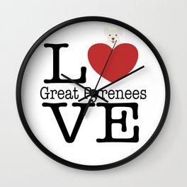 Love Cute Great Pyrenees Wall Clock