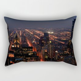 Chicago Night Lights/Hancock Tower View #1 (Chicago Architecture Collection) Rectangular Pillow