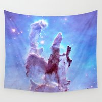 nebula Wall Tapestries featuring nEBulA Pastel Blue & Lavender by 2sweet4words Designs