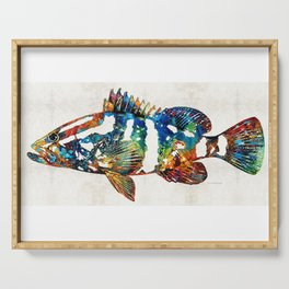 Colorful Grouper 2 Art Fish by Sharon Cummings Serving Tray