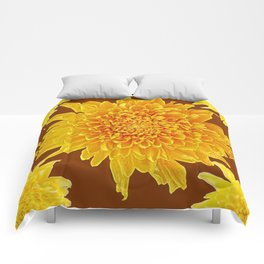 Coffee Brown Color Golden Yellow Chrysanthemums Comforters