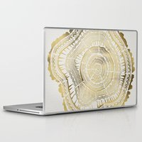 bianca green Laptop & iPad Skins featuring Gold Tree Rings by Cat Coquillette