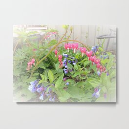 Floral Fantasy Bleeding Hearts and Bluebells Metal Print