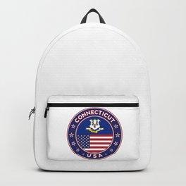 Connecticut, Connecticut t-shirt, Connecticut sticker, circle, Connecticut flag, white bg Backpack