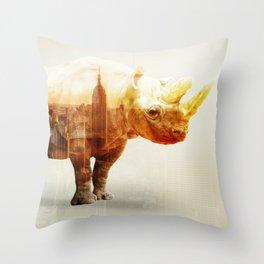 New York Rhyno Throw Pillow
