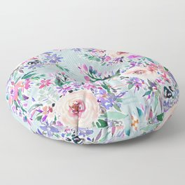 WILD DANCE Ice Blue Floral Floor Pillow