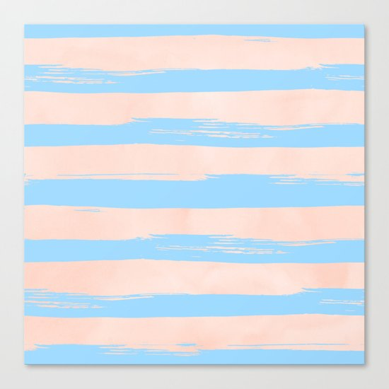 Trendy Stripes - Sweet Peach Coral on Blue Raspberry Canvas Print