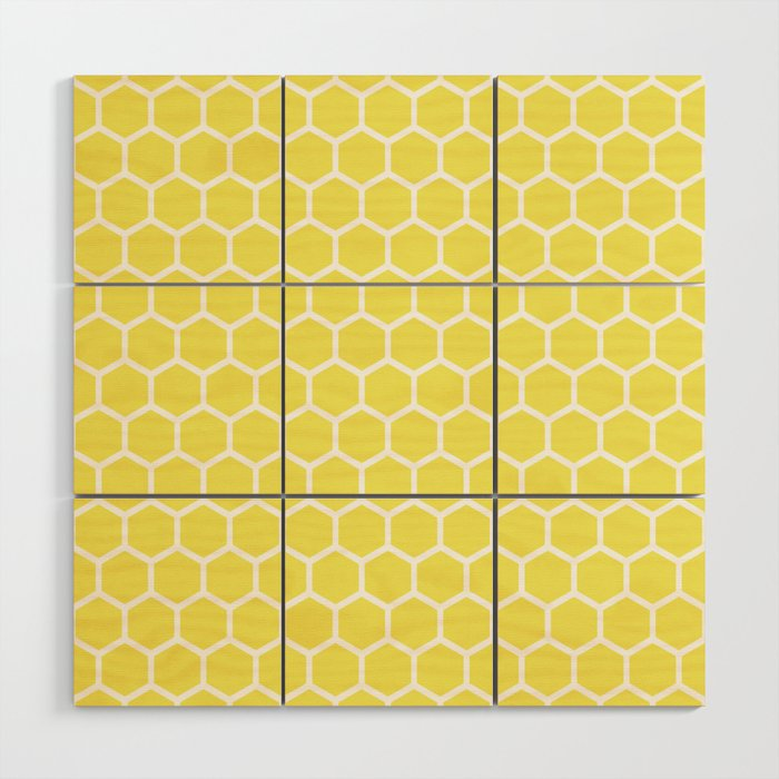 Summery Happy Yellow Honeycomb Pattern - MIX & MATCH Wood Wall Art ...